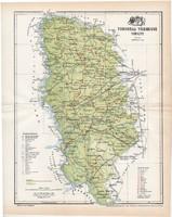 Torontál vármegye térkép 1897 (5), lexikon melléklet, Gönczy Pál, 23 x 29 cm, megye, Posner Károly