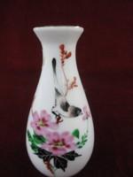 Kézzel festett kínai váza, virág és madár motívummal.