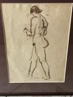Akvarell férfi akt szignóval