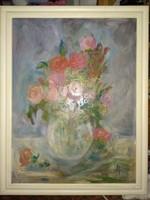 90x70 cm olajfestmény, nagy olajkép csendélet pasztell színekkel