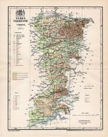 Temes vármegye térkép 1897 (1), lexikon melléklet, Gönczy Pál, 23 x 30 cm, megye, Posner Károly