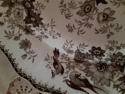 DAVENPORT madárkás-virágos fajansz tányér