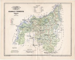 Szabolcs vármegye térkép 1897 (4), lexikon melléklet, Gönczy Pál, 23 x 29 cm, megye, Posner Károly