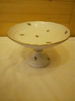 Herendi kis virágmintás porcelán talpas kínáló tál