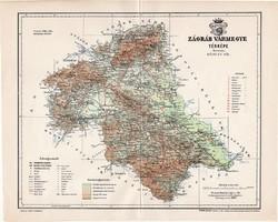 Zágráb vármegye térkép 1897 (1), lexikon melléklet, Gönczy Pál, 23 x 29 cm, megye, Posner Károly