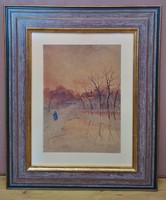 NAGY SÁNDOR jelzéssel festmény, Ősz vége, 1921., vegyes technika karton, 63 x 52 cm, jbl.