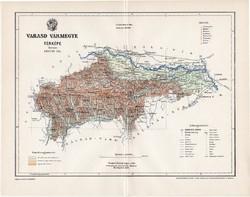 Varasd vármegye térkép 1897 (1), lexikon melléklet, Gönczy Pál, 23 x 30 cm, megye, Posner Károly