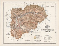 Zólyom vármegye térkép 1897 (3), lexikon melléklet, Gönczy Pál, 23 x 29 cm, megye, Posner Károly