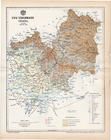 Ung vármegye térkép 1894 (5), lexikon melléklet, Gönczy Pál, 23 x 29 cm, megye, Posner Károly