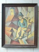 Kmetty János festmény - Szentendrei utcán