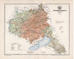 Veszprém vármegye térkép 1897 (1), lexikon melléklet, Gönczy Pál, 23 x 30 cm, megye, Posner Károly