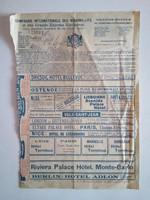 Orient Express Comapgnie Internationale des Wagon-Lits jegy, 1912, nagyméretű