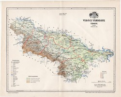 Verőce vármegye térkép 1897 (5), lexikon melléklet, Gönczy Pál, 23 x 29 cm, megye, Posner Károly