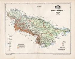 Verőce vármegye térkép 1897 (4), lexikon melléklet, Gönczy Pál, 23 x 30 cm, megye, Posner Károly