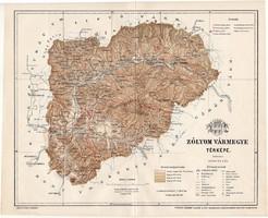 Zólyom vármegye térkép 1897 (1), lexikon melléklet, Gönczy Pál, 23 x 28 cm, megye, Posner Károly