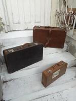 3 db régi bőrönd