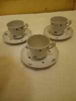 3 db Herendi kék virágmintás porcelán capuccinós csésze + alj