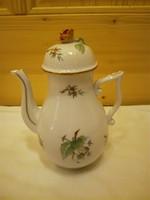 Herendi hecsedli, csipkebogyó mintás porcelán teáskanna, tea, kávé kiöntő
