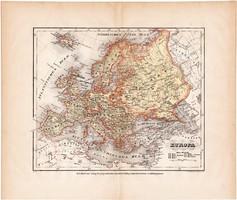 Európa térkép 1871, lexikon melléklet, német nyelvű, eredeti, XIX. század, Meyers, régi