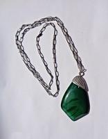 Zöld köves ezüst nyakék