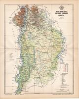 Pest - Pilis - Solt - Kis-Kun vármegye térkép 1896, lexikon melléklet, Gönczy Pál, 23 x 29 cm, megye