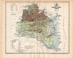 Baranya vármegye térkép 1893, lexikon melléklet, Gönczy Pál, 23 x 30 cm, megye, Posner Károly, régi