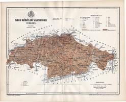 Nagy - Küküllő vármegye térkép 1895, lexikon melléklet, Gönczy Pál, 23 x 29 cm, megye, Posner Károly