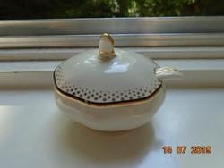 Arany fekete csíkkal régi ovális Mustáros fedeles kínáló porcelán kiskanalával