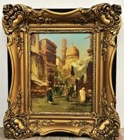Pádly Aladár (1881 - 1949) Kairói utcajelenet c. olajfestménye EREDETI GARANCIÁVAL !!