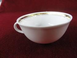Német porcelán kávéscsésze, hófehér alapon arany csíkkal.
