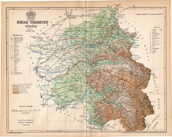 Bihar vármegye térkép 1893, lexikon melléklet, Gönczy Pál, 23 x 29 cm, megye, Posner Károly, eredeti