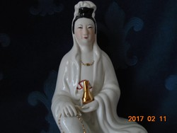 DEHUA  BLANC DE CHINE KWAN YIN az Irgalom kínai istennője lótuszvirágon -25 cm