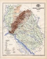 Pozsony vármegye térkép 1897, lexikon melléklet, Gönczy Pál, 23 x 29 cm, megye, Posner Károly, régi