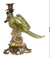 Papagájos gyertyatartó pár /porcelán-bronz