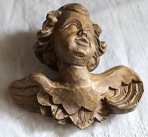 Fa angyal fej, antik puttó, gyönyörű kézi faragás