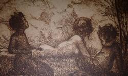 Ismeretlen szerző rézkarca : Madárdal 1924