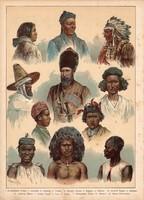 Embertípusok, etnográfia, fajok, litográfia 1880, eredeti, 24 x 34 cm, nagy méret, német nyelvű