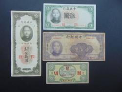 Kína 4 darab yuan LOT ! Csomagban a 10 yuan 1949 RITKA !