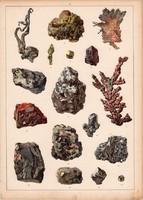 Ásvány (20), arzén, platina, fakóérc, azurit, litográfia 1880, eredeti, 24 x 34 cm, nagy méret