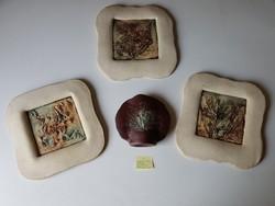 Szemereki Teréz kerámia faliképei (3 db) és asztali dísze (csak egyben, kedvező áron)