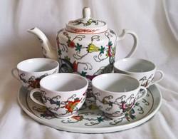 Keleti porcelán teáskészlet,tálcás 4 személyes