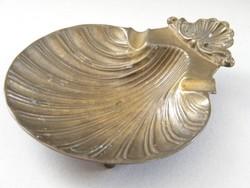 Kagyló formájú régi réz hamutartó, hamutál