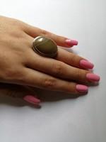 Kézműves ezüst gyűrű méretes acháttal 17,4 gr