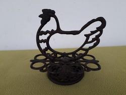 Régi antik kovácsoltvas öntöttvas tyúkos pohártartó