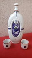 Hollóházi porcelán pálinkás készlet jelzett 3 db-os