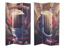 Kétoldalú paraván ,káve,kávés paraván