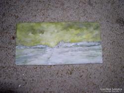 Téli tájkép, mini olajfestmény farostlemez 10 x 21 cm  Keret nélkül, ----Lehoczky József ---2005.