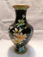 Nagyobb Kínai rekeszzománc váza 20,5 cm , hibátlan