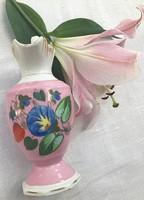 Kézzel festett, sorszámozott angol váza/kancsó 15 cm magas