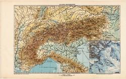Az Alpok hegyrendszere térkép 1913, atlasz, Kogutowicz Manó, magyar nyelvű, hegység, Európa, hómező